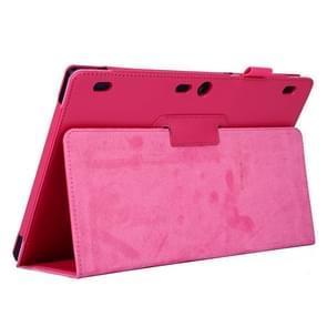 Lenovo Tab2 A10-70 horizontaal Litchi structuur PU leren Hoesje met tweevouws houder (hard roze)