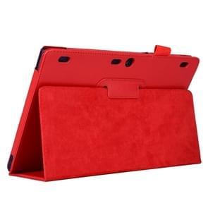 Lenovo Tab2 A10-70 horizontaal Litchi structuur PU leren Hoesje met tweevouws houder (rood)