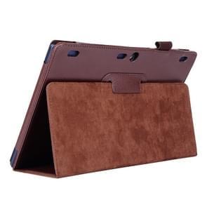 Lenovo Tab2 A10-70 horizontaal Litchi structuur PU leren Hoesje met tweevouws houder (bruin)