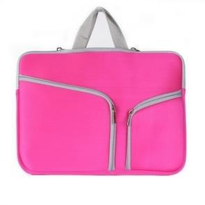 MacBook Air 11.6 inch Handtas Laptop Tas met draagriem  dubbele pocket en ritsen (hard roze)