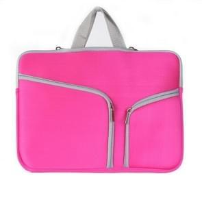 MacBook Air 13 inch Handtas Laptop Tas met draagriem  dubbele pocket en ritsen (hard roze)