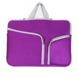 MacBook Air 13 inch Handtas Laptop Tas met draagriem  dubbele pocket en ritsen (paars)