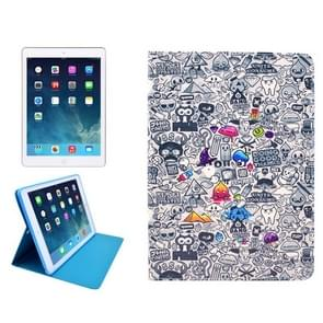 Cartoon Pattern Protective PU Leather Case with Sleep / Wake-up Function & Card Slot for iPad Mini / Retina