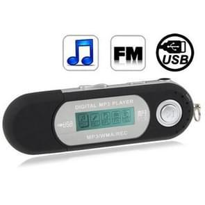 2GB MP3-speler met LCD-scherm, de Radio van de FM van de ondersteuning, werk met AAA-batterij, gebruiken als USB Flash Disk(Black)