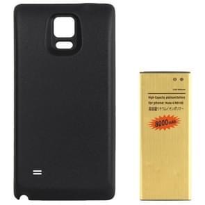Achterdeur Cover & hoge capaciteit 8000mAh goud zakelijke mobiele telefoonbatterij voor Galaxy aantekening 4 / N910  internationale Edition(Black)