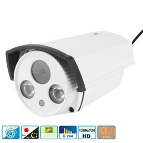 H.264 Wired Array LED Infrared 720P Bullet IP Camera, 1.0 Mega Pixels 6mm Fixed Focal Lens, Motion Detection / Privacy Mask and 30m IR Night Vision, Compliant to Onvif 2.1 (With CE & Rohs Certificate)