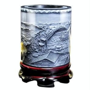 Top-grade Crystal Resin Material Embossed Ornaments Drum Shape Rotation Pen Holder