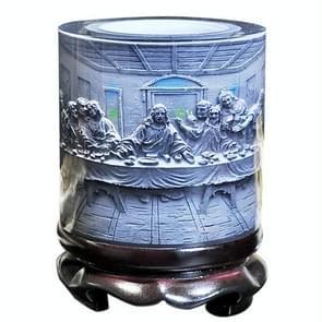 Top-grade Crystal Resin Material Jesus Savior Embossed Pattern Ornaments Drum Shape Rotation Pen Holder