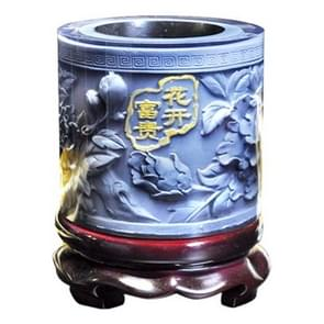 Top-grade Crystal Resin Material Peony Embossed Pattern Ornaments Drum Shape Rotation Pen Holder