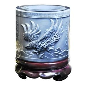 Top-grade Crystal Resin Material Eagle Wings Embossed Pattern Ornaments Drum Shape Rotation Pen Holder