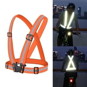 Nachtrijden Flexibel Reflecterend veiligheidsvest (Oranje)