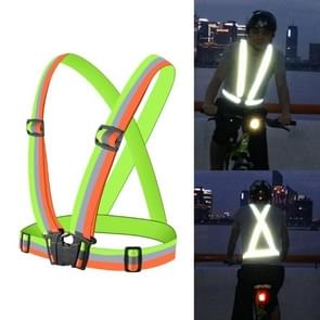 Night Riding Running Flexible Reflective Safety Vest(Yellow+Green)