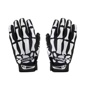 Qepae Skull Pattern Cycling Bicycle Outdoor Sports Gloves, Size: L, F7507(Black)