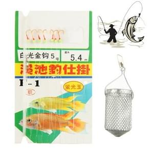 5# Sea Fishing Gold Hook with Fluorescence Jade and Bait Cage