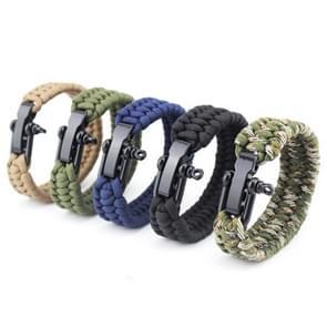 DIY Weave Style Nylon Survival Bracelets with Adjustable Stainless Steel Shackle, Random Color Delivery