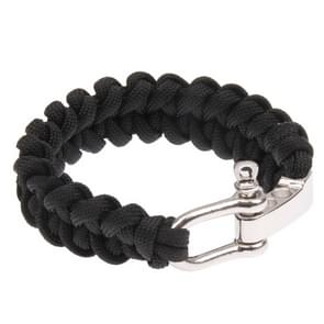 Multi-functional Nylon Braided Survival Bracelets with Adjustable Stainless Steel Shackle(Black)