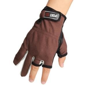 1 paar 3 vingers blootgesteld ademend anti-gladde visserij Gloves(Brown)