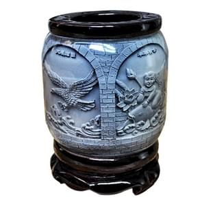 "Top-grade Crystal Resin Material ""4"" Auspicious Embossed Pattern Ornaments Drum Shape Rotation Pen Holder"