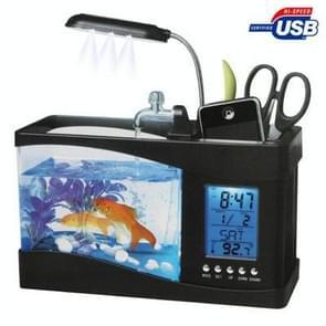 USB Desktop Aquarium Mini aquarium met stromend Water en 6 LED-verlichting  weergave van de LCD klok met kalender  tijd en Alarm (houdt 1.5 Quarts van Water)(Black)