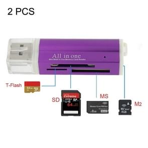 2 PCS Multi All in 1 USB 2.0 Micro SD SDHC TF M2 MMC MS PRO DUO Memory Card Reader(Purple)