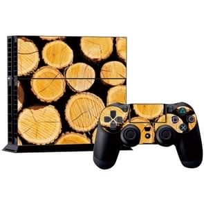 hout patroon Stickers voor PS4 Game Console