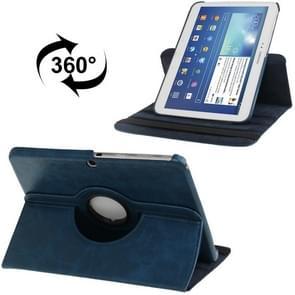 360 graden draaiend Crazy Horse structuur lederen hoesje met houder voor Samsung Galaxy Tab 3 (10.1) / P5200 / P5210  Dark blauw(donker blauw)