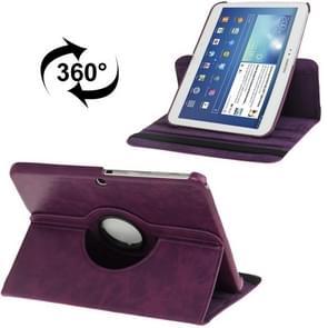360 graden draaiend Crazy Horse structuur lederen hoesje met houder voor Samsung Galaxy Tab 3 (10.1) / P5200 / P5210, Paars(zwart)