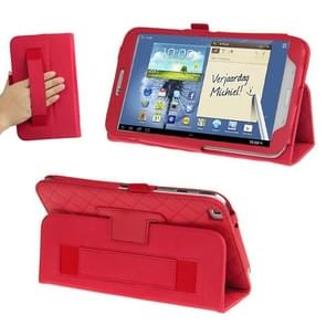 Plaid Texture Leather Case with Holder & Elastic Hand Strap for Galaxy Tab 3 (8.0) / T3110 / T3100