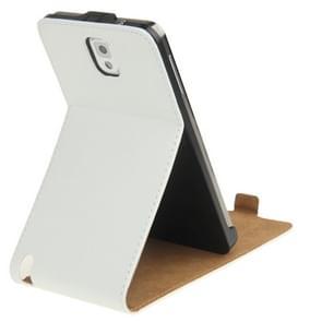 Vertical Flip lederen hoesje met houder voor Samsung Galaxy Note III / N9000 wit