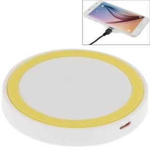 Qi standaard draadloos opladen Pad  voor iPhone 8 / 8 Plus / X & Samsung / Nokia / HTC en andere mobiele telefoons (White + geel)