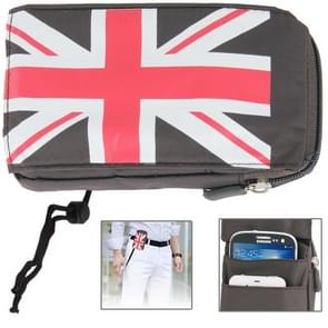 UK Flag Pattern Universal 3-layer Zipper Carry Bag with Carabiner Hook for Galaxy Note III / N9000 / N7100 / i9500 / S3 / i9300 / Note / i9220 / MP5 / All 5.7 inch Device (Brown)