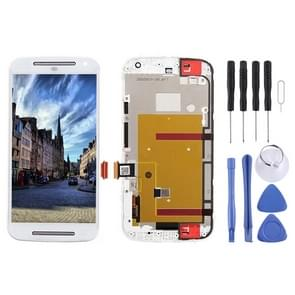 3 in 1 (LCD + Frame + Touch Pad) Digitizer Assembl for Motorola Moto G2(White)