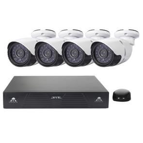 4CH H. 264 720P HD Bullet IP camera NVR Kit  30m IR nachtzicht  ondersteuning video/audio-ingang