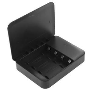 USB 2.0 4 x AA batterijen vak draagbare lader met Flashlight(Black)
