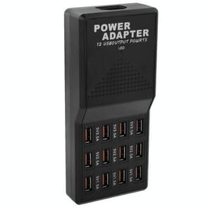 US Plug 12 Ports 5V 12A Output Max 3.5A USB Socket Power Fast Chargers, For iPhone, Galaxy, Huawei, Xiaomi, LG, HTC, Sony, other Smartphones and Tablets(Black)
