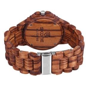 SKONE ronde wijzerplaat kalender weergave nagel schaal mannen Quartz horloge met sandelhout Band(Coffee)