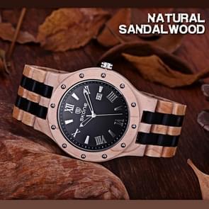 SKONE Round Dial Calendar Display Rivets Decorative Bezel Roman Numeral Scale Men Quartz Watch with  Maple + Sandalwood Band (Beige + Black)