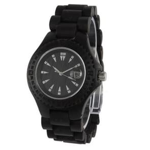 Men Dial Quartz Watch Metallic Wood Watchband with Date(Black)