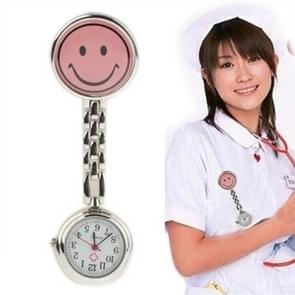 Cute Yellow Smiley Face Style Nurse Quartz Watch with Clip(Pink)