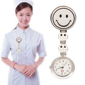 Smile Style Portable Alloy Nurse Round Quartz Wristwatch Watch with Pin(White)