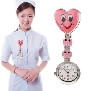 Smile Style Portable Alloy Nurse Round Quartz Wristwatch Watch with Pin(Red)