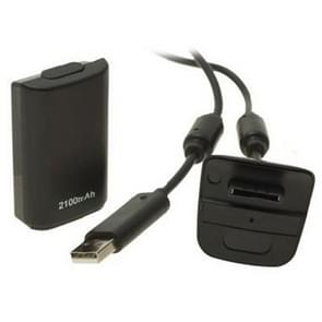 2100mAh Rechargeable Battery Pack & Chargeable Cable for XBOX 360 (Black)