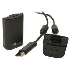 2100 mAh oplaadbare batterijpack & ten laste Cable for XBOX 360 (zwart)