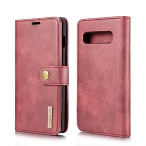 DG.MING Crazy Horse Texture Flip Detachable Magnetic Leather Case for Galaxy S10 Plus, with Holder & Card Slots & Wallet (Red)