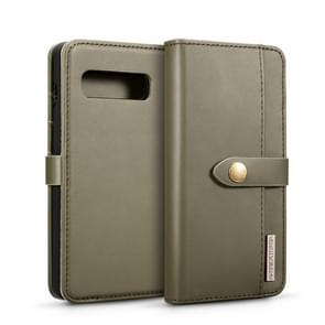 DG.MING Lambskin Detachable Horizontal Flip Magnetic Case for Galaxy S10 Plus, with Holder & Card Slots & Wallet (Green)