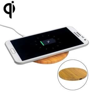 5V 1A uitgang Qi standaard ronde vorm bamboe draadloze oplader  steun QI standaard telefoons  voor iPhone X & 8 & 8 Plus  Galaxy S8 & S8 PLUS  LG G3 & G2 & G10  Nokia Lumia 820  Google Nexus 6 & 5 & 4 en andere QI standaard Smartphones