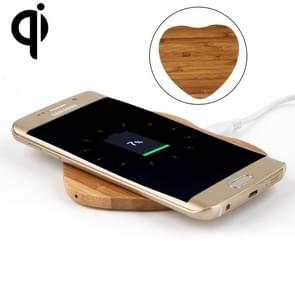 5V 1A uitgang Qi standaard hart vorm bamboe draadloze oplader  steun QI standaard telefoons  voor iPhone X & 8 & 8 Plus  Galaxy S8 & S8 PLUS  LG G3 & G2 & G10  Nokia Lumia 820  Google Nexus 6 & 5 & 4 en andere QI standaard Smartphones
