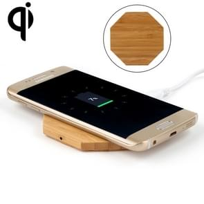 5V 1A uitgang Qi standaard Octagon vorm bamboe draadloze oplader  steun QI standaard telefoons  voor iPhone X & 8 & 8 Plus  Galaxy S8 & S8 PLUS  LG G3 & G2 & G10  Nokia Lumia 820  Google Nexus 6 & 5 & 4 en andere QI standaard Smartphones