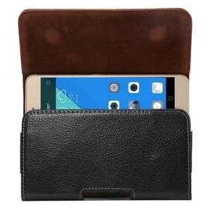 Universeel 5.5 inch horizontaal Litchi structuur PU leren Hoesje met draaibare riemhouder voor Samsung Galaxy S7 Edge & Note 5 & 4 & 3 & 2  Huawei P9 Plus & Honor 7i & Honor 6 Plus  enz. (zwart)