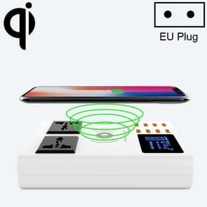 YC-CDA10W 10W Multi Port USB Intelligent Digital Display Fast Charging Wireless Charger  EU Plug